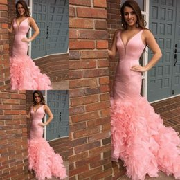 Wholesale Pretty Sale - Hot Sale Pretty V-Neck Pink Mermaid Long Prom Dresses Ruffles Organza Formal Prom Gowns Vestido De Fiesta Party Dresses Evening Dresses