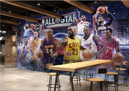 Wholesale Paintings Basketball - 3d wallpaper custom photo mural All star basketball theme club KTV background wall room painting 3d wall murals wallpaper for walls 3 d