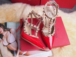Wholesale Designer High Heel Women Shoe - 2017 Designer women high heels party fashion rivets girls sexy pointed shoes Dance shoes wedding shoes Double straps sandals