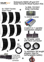 Wholesale Inverter Solar System - Solarparts off-grid Solar System KITS 800W flexible solar panel 1pcs 60A controller 2KW inverter,2 sets 4 in1 MC4 adaptor cable