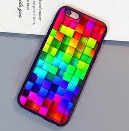Étui pour téléphone iphone 5c 3d en Ligne-Blocs Rainbow 3d Graphics Background Étuis pour téléphones mobiles pour iPhone 6 6S Plus 7 7 Plus 5 5S 5C SE 4S Couverture arrière