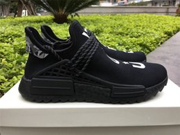 Wholesale R Shoes - NMD Trail Human Race HU Pharrell NERD Black White Running Shoes Sneakers Y O U N E R D Sports Shoes Real Boost