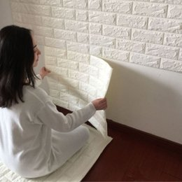 Wholesale Rolling Store - Wholesale- White 3D Modern Design Brick Wallpaper Roll Vinyl Wall Covering Wall Paper Living Room Dinning Room Store Background