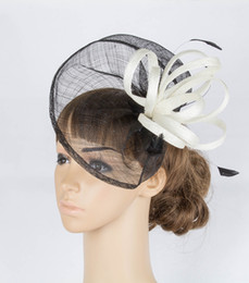 Wholesale Sinamay Hat Black - 17colors fashion sinamay material fascinator headpiece black and beige Bridal Headwear wedding headpiece event hair Accessories cocktail hat