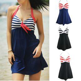 Wholesale Yellow Halter Swimsuit - 2017 New Hot Sale Women Sexy Halter Swimdress Navy Blue Striped One-Piece Swimsuit Swimwear High Waist Ladies Plus Size Beachwear QP0202