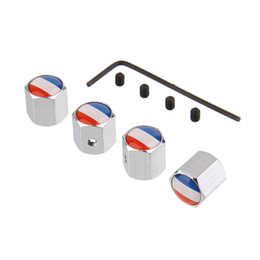 Wholesale Flag Parts - 1 Set Anti-theft Tire Valve Caps with France National Flag Logo Safety Tyre Valve Stem Cover Car-Styling Parts Wheel Accessories