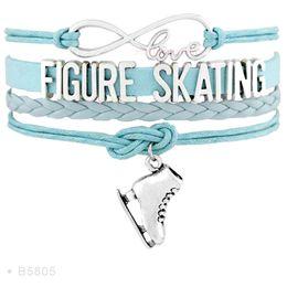 Wholesale Wholesale Infinity Light - Infinity Love Skate Flip Figure Skating Axel Charm Bracelets For Women Black Light Blue White Suede Leather Wrap Jewelry