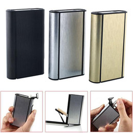 Wholesale Ejection Cigarette Case - Wholesale- Aluminum Pocket Auto-Ejection Tobacco Case Holder Lighter Metal Box Container For 10 Cigarette Storage Gift
