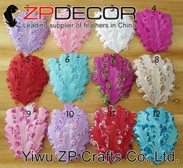 Wholesale Wholesale Curled Feather Headbands - NEW Arrival 2017 ZPDECOR Goose Feather Assorted color Appliques headbands Hair Accesorises curled goose pad feathers