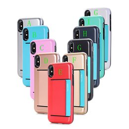 Wholesale Smoothing Card - For iphone 6 7 8 Newest Hard Hybrid Silicone Case with Card Slots Dual Layered Anti-Shock Smooth Cover For iphone 7 6s plus