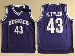 Wholesale K L - Marlon Wayans Kenny Tyler 43 Huskies Basketball Jersey The 6th Man Movie Stitched Sewn Purple K. Tyler #43 Huskies Cheap Throwback Jerseys