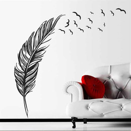 Wholesale Home Post - flying feathers wall stickers living bedroom decoration 8408. diy vinyl adesivo de paredes home decals art posters papers 3.5