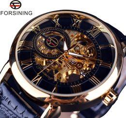 Wholesale Leather Case Fashion Logo - Forsining 3D Logo Design Hollow Engraving Man Wrist Watch Black Gold Case Leather Skeleton Mechanical Men Watches Luxury Brand Heren Horloge
