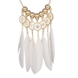 Wholesale Summer Costume Jewelry - Wholesale-White Feather Long Pendant Necklaces Summer Style Gold Beads Shiny Rhinestone Fashion Design Jewelry Costume Bohemia Necklace