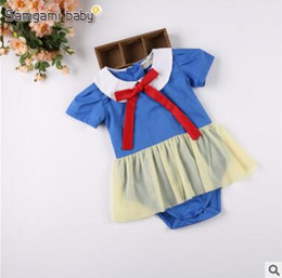 Wholesale Snow Headband - Ins Baby Romper TUTU Dress 2017 Summer Snow White Baby Onesies Princess Girls Jumpsuit Toddler Infant Outwear Bodysuit Baby Clothes 102