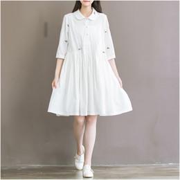 Wholesale Mori Plus Size - Wholesale- Summer Dress Short Sleeve Turn Down Collar White Dress High Waist Casual Women Dress Plus Size Women Clothing Mori Girl
