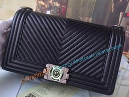 Wholesale Handbag Quilted Bag Lambskin Leather - Comeinu9 2017 New Women Lambskin Medium Flap Shoulder Bag Aged Silver HW Black Chevron Quilted Lambskin Boy Bag Wholesale Female Handbag