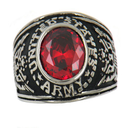 Wholesale Custom Made Band - Custom made stainless steel vintage mens or wemens jewelry MILITARY RING UNITED STATES ARMY AMERICAN EAGLE SPIRIT RING ORANGE STONE 10W28SB