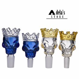 Wholesale Dry Bowl - King Skull Big Crown Glass Bowl 14mm 18mm Male Joint Dry Herb Holder Blue Clear Color Bong Bowls Smoke Tool Slide 340