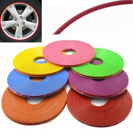 Wholesale Car Decoration Trim - Universal 8M Roll Car-styling Car Vehicle Color Wheel Rims Protector Care Tire Guard Line Rubber Moulding Trim Car Sticker