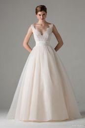 Wholesale Sequin Cowl Neck - New Fashion Organza&Tulle A Line Wedding Dresses V Neck Beaded Lace Appliques Floor Length Vestido De Noiva Bride Dress