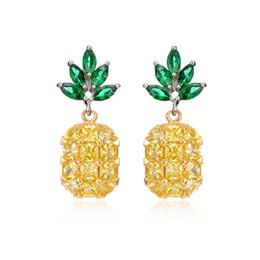Wholesale Cute Pink Stud Earrings - Fashion Popular Pineapple Yellow Pink Zircon Earrings Stud For Women Party Gift Cute Fruit Stud Free Shipping
