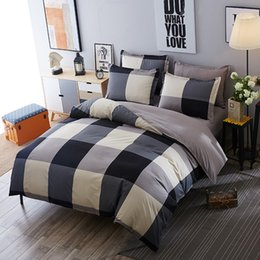 blue modern bedding sets Promo Codes - Brief Lump Square Bedding Sets Simple Style Comforter Set Duvet Cover Bed Sheet Sets Single Double Queen King Size 4pcs Modern Bedding