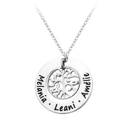 Wholesale Monogram Necklaces Wholesale - Wholesale-SALE-Custom Engraved Names Family Tree Necklace,Personalized Mother Necklace,Round Monogram Pendant Necklaces Tree of Jewelry