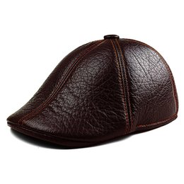Wholesale Genuine Leather Winter Hats - Wholesale- Men's Genuine Leather Barets Warm Winter Fashion Cap Cabby Hat Vintage Newsboy Driving Cap for Men Outdoor Headwear