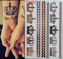Wholesale Imperial Crown Tattoos - Styles Metallic Tattoo Flash Tattoos Silver Metalic Temporary Tattoo Gold and silver Necklace Imperial crown Tattoo Disposable