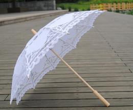 Wholesale White Lace Parasol Umbrella Wholesale - 30pcs New solid color lace parasols Bridal wedding umbrellas white color Free Shipping