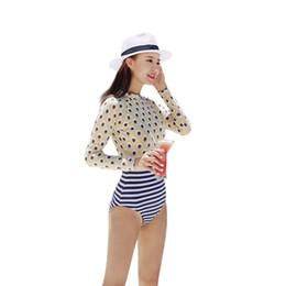 Wholesale Girls Navy Stripe Suits - Latest Summer Bathing Suit Swimwear Woman Long Seelve Swimsuit One Piece Stripes Navy Traje De Bano Girls High Waist Beach Wear