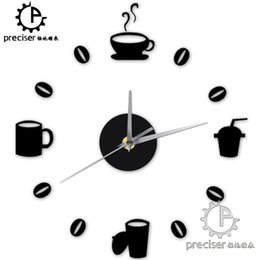 Wholesale Wall Coffee Clocks - Wholesale- Coffee Cups Beans 3D DIY Wall Clock Acrylic Stickers Quartz Modern Home Decoration Retro Kitchen Wall Clock