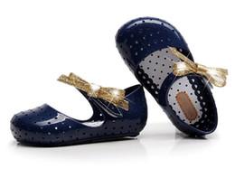 Wholesale Leather Sandals Hole - 2017 summer new MINI SED flashing powder bowknot magic patch Baotou hole hole shoes boys girls jelly shoes sandals
