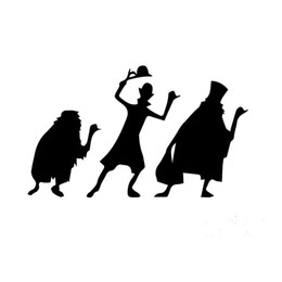 Wholesale Funny Cartoon Movies - Wholesale 10pcs lot Horror Movie Haunted Mansion Hero Threesome Funny Car Sticker for Wall Motorcycles Auto Door Laptop Kayak Vinyl Decal