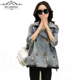 Wholesale Double Breasted Jeans - Wholesale- Fashion Casual Vintage Three Quarter Sleeve Denim Short Denim Jacket Double Breasted Chaquetas Mujer Coat Jeans Women Plus Size