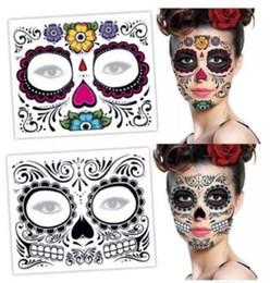 Volto adesivo di halloween online-Festa di Natale Faccia faccia da morto tatuaggio faccia Halloween e ballo in maschera deve tatuaggio grazioso tatuaggio impermeabile faccia fronte 150 * 125mm XT