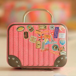Wholesale Candy Metal Containers - Europe Style Vintage Suitcase Shape Candy Storage Box Wedding Favor Tin Box Sundries Organizer Container Small Decoration V3626