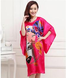 Wholesale chinese dresses plus size women - Wholesale- Sexy Printed Lady Silk Rayon Sleepwear Pajamas Chinese Style Women Robe Dress Nightgown Kaftan Bath Gown Plus Size 6XL S5007