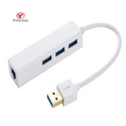 Wholesale Usb Hub Rj45 - USB HUB Ethernet Adapter USB 2.0 3 Port 10 100 Mbps Network Port usb to rj45 lan Wired Network Adapter free shipping