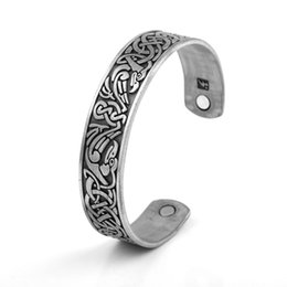 Wholesale Silver Open Bangle Bracelet - Health Care Jewelry Fashion Open-ended Cuff Bangle Gold Plated Copper Wristband Bracelet Gifts