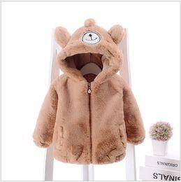 Wholesale Pink Lolita Coat - Retail 2017 New Arrivals Winter Baby Cartoon Wool Coats Cute Boys Girls Zipper Hooded Outwear Kids Thicken Warm Coat 4 Colors