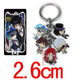 Wholesale Black Butler Anime Figures - Hot !5Set 2Style Anime Black Butler Design Cartoon Character Metal Pendant Keychain Keyrings Gift In package Can pick Mixed