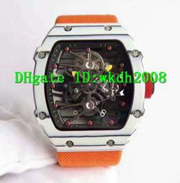 Wholesale Mens Canvas Watches - Luxury Brand Spline Screws NTPT Carbon Fiber Case Oversize Tourbillon Sports Mens Watch Orange  Red Canvas Strap Sapphire Tonneau Watches