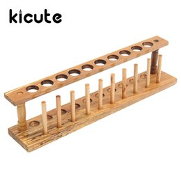 Wholesale Wholesale Laboratory Supplies - Wholesale- Kicute Wooden Test Tube Rack 10 Holes and 10 Pins Holder Support Burette Stand Laboratory Test tube Stand Shelf Lab Supply