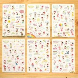 Wholesale New Scrapbook Paper - Wholesale- New Lovely 6 Sheet set Paper Stickers for Diary Scrapbook Book Stationery Decor for Decoration Cartoon Girl Transparent Stickers