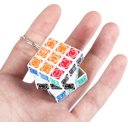 Wholesale Mini Key Chain Cube Toys - New Arrival Three Layer Mini Magic Cube Key Ring Happy Face Brain Teaser Toy Unique Design Educational Chain Game Puzzle