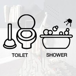 Wholesale Small Furniture Stickers - Toilet 1set 2 design wall stickers home decal decor decoration toilet furniture bathroom glass stickers kitchen cabinet cute