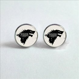 Canada 2017 Boucles d'oreilles en verre Stark Art de nouvelle maison Boucles d'oreilles Game of Trones Wolf Ned Arya Catelyn Sansa Robb Bran Vintage Earrings Offre