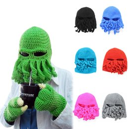 Wholesale Knitting Octopus - Man Hats, Funny Winter Beanie Beard Hats Knit Wool Mustache Caps Octopus Ski Unisex Women Balaclavas